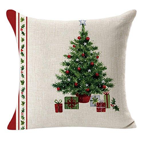 Kword Federe di Natale, Campane di Natale di Stampa Lino Tiro Lino Cuscino Caso Quadrato Cuscino Decorativo Copertura di Cotone (Verde)