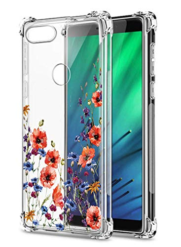 Oihxse Transparent Coque pour Xiaomi Redmi 5A Souple TPU Silicone Protection Etui Air Cushion [Shock-Absorption] [Anti-Rayures] Fleurs Motif Housse Bumper (B17)