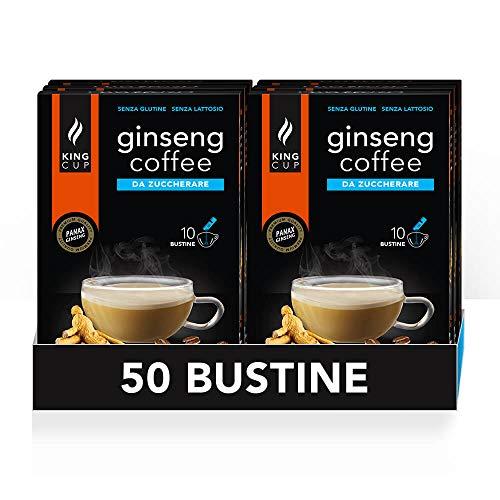 King Cup - 5 Confezioni da 10 Bustine Solubili di Ginseng da Zuccherare, 50 Stick da 6 Gr per Bevanda al Gusto di Ginseng da Aggiungere a 60 Ml di Acqua Calda, Senza Glutine e Senza Lattosio