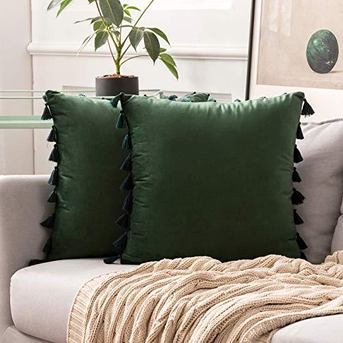 MIULEE Pack de 2 Terciopelo Funda de Borla Cojine Fundas Almohada del Sofá Throw Cojín Decoración Caso de la Cubierta Decorativo Almohadas para Sala de Estar 18x18inch 45x45cm Verde Oscuro