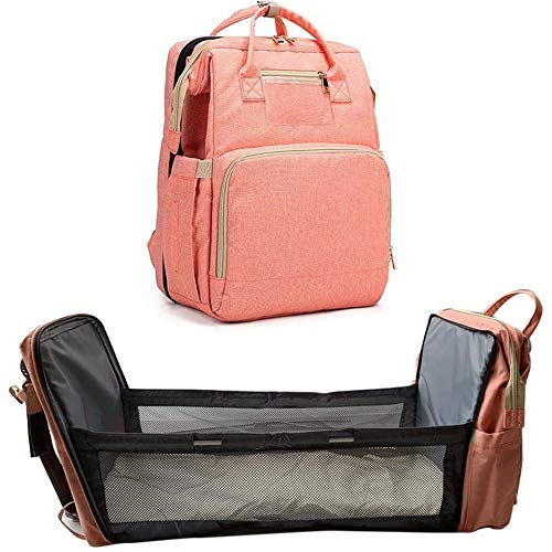 LYBW Baby Diaper Bag Bed 4 In 1 Multifunctional Baby Cot Bed,Portable Mummy Bag Backpack Foldable Baby Travel Cot,Pink