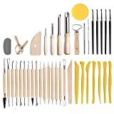 TOFAR Polymer Clay Tools, 40Pcs Ceramic Clay Carving Tools Set for Shaping Embossing Sculpting Clay Soap Making Modeling, Pottery Sculpting Tools for Beginners and Professional Art Crafts