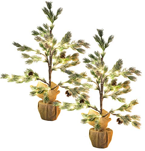 Britesta LED Bäume: 2er-Set Deko-Nadelbäumchen im Topf, 24 LEDs, Kunstschnee, Zapfen, 70cm (Weihnachtsbäume)