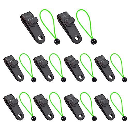 Clips de lona,abrazadera de cubierta de coche,clips de tienda de campaña de alta resistencia, juego de abrazadera de toldo de clip instantáneo para tienda de campaña(verde, tamaño:10 unidades)