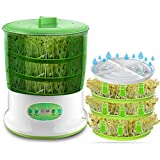 Semilla Inteligente germinador, Auto Hogar 2 Capas del Grano de Cereal de Semillas Brotes de la máquina, de Gran Capacidad de 220 V, Adaptador de Cable Incluir,Verde