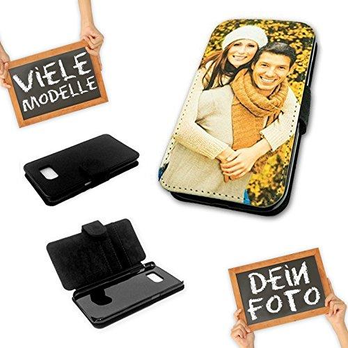 PixiPrints Flipcase Etui mit eigenem Foto & Text * Flip Tasche Handy Book Schutzhülle, Kompatibel mit Samsung Galaxy S2