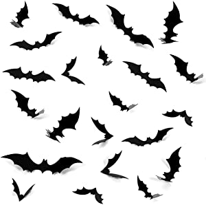 Halloween 3D Bats Decoration, 80 PCS 4 Sizes Realistic PVC Scary Bats Window Decal Wall Stickers for DIY Home Bathroom Indoor Hallowmas Decoration Party Supply