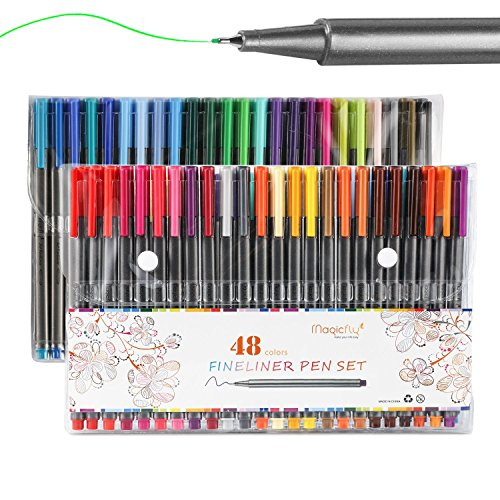Fineliner Color Pen Set 48 Colors, Magicfly 0.38mm Colored Fine Line...