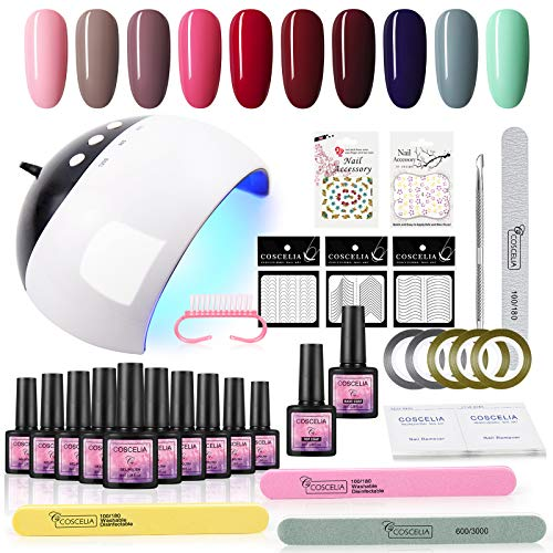 Saint-Acior 8ml Esmalte de Uñas en Gel de 10pcs Secador de Uñas 24W UV/LED Base Coat Top Coat Kit de Manicura