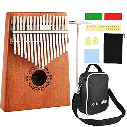Kalimba 17 Schlüssel, Nabance Daumenklavier Kalimba Professionelles Finger Daumen Piano Karimba Instrument mit Tragetasche Stimmhammer Studienanleitung Weihnachtsgeschenk für Kinder Anfänger