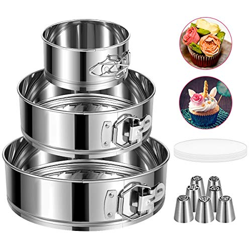 """E-Gtong Springform Pan Set of 3 Stainless Steel Cake Pan 4"""" 7"""" 9"""" Leakproof Round Cheesecake Pan with Removable Bottom with 50 Pcs Parchment Paper Liners and 7 Pcs Russian Piping Tips"""