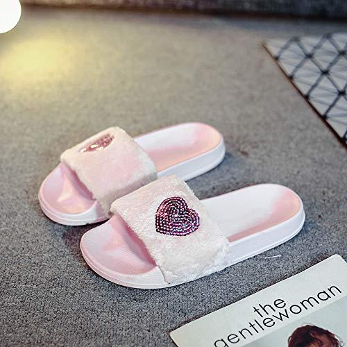 Qsy shoe Pantoufles en Peluche été et Automne Chaussures d'intérieur antidérapantes pour l'intérieur, cœur Rose, 36 Femmes