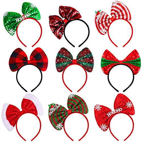 Aneco 9 Pack Assortment Christmas Bow Headband Xmas Bow Hair Hoop Red Bow Headwear for Christmas Party Supplies Gifts Accessoriess