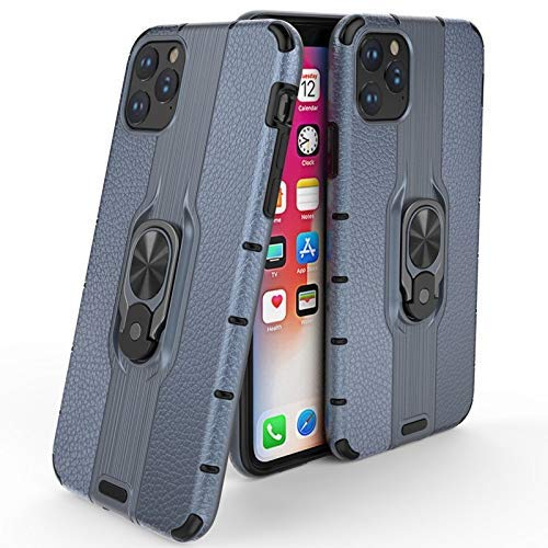 Rugged Flexible Protection case Compatible with iPhone 11 Pro Max 6.5 Inch Case, Lychee Pattern Hybrid Case, Multifunctional Phone Case with Rotational Kickstand [Bulit-in Iron Metal Piece]