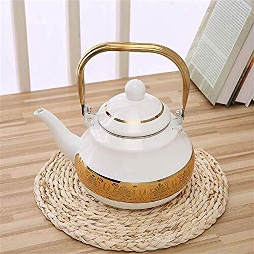 GUOCAO Juegos de té Tea Pots esmaltada Tetera teteras Tetera Ollas esmalte de gas cocina de inducción Caldera de gas Inicio caldera caliente de gran capacidad recipiente de acero mango de la olla la f