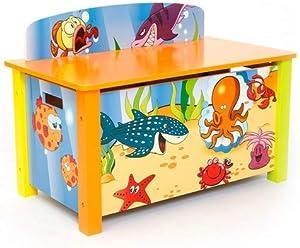 Homestyle4u 1119 Kinder Spielzeugtruhe Meer Fische , Spielzeugkiste mit Deckel klappbar , Aufbewahrungsbox , Holz Bunt