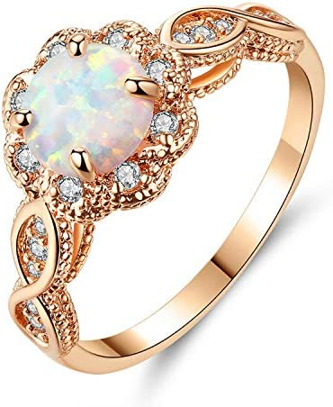CiNily Opal Rings for Women 18K Rose Gold Plated White Fire Opal Zirconia Women Jewelry Gemstone product image