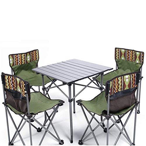 ZYQZYQ Outdoor Folding Table And Chair, Camping Table, 5-piece Portable Camping Leisure Aluminum Alloy Table And Stool Combo Set,C