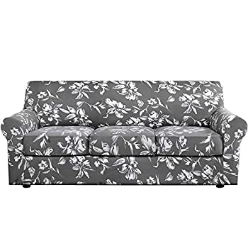 H.VERSAILTEX Super Stretch 4 Pieces Sofa Covers for 3 Cushion Couch Covers Sofa Slipcovers Feature Soft Thick Bouncy Modern Style with Individual Cushion Covers Pet Friendly - Sofa Grey