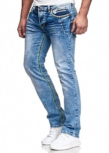 Code47 Herren Jeans Hose Washed Straight Cut Regular Stretch Dark Grey/Blue W29-W38 5083 Hellblau W30 L32