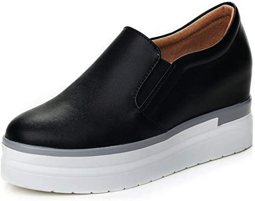 ZCW Chaussures polyvalentes décontractées chaussures Chaussures Lok Fu, Chaussures Augmentant la Taille, Petites Chaussures Blanches Femmes, Chaussures décontractées en Cuir, Chaussures Plates épaisses