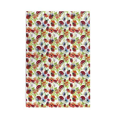 Rompecabezas para adultos, 1000 piezas, rompecabezas de mariquita y flores, patrón de acuarela para niños y adolescentes, rompecabezas grande de 75,5 cm x 50,3 cm