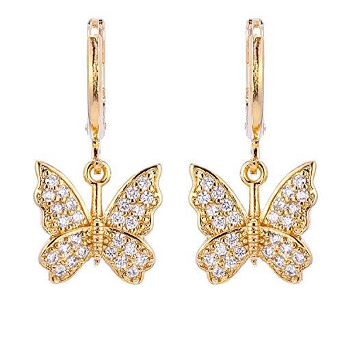 INENIMARTJ Charm Butterfly Hoop Earrings, 14K Gold Silver Crystal Butterfly Drop Dangle Earrings for Women and Girls