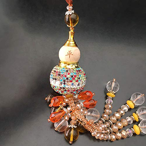 AMB Pendente dello Specchio Profumo dell'automobile Zucca, Decorazione Cristallo Rocca Retrovisione Dell'Ornamento Regalo,Multicolor
