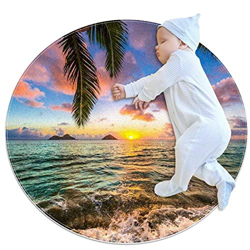 Hermosa alfombra redonda Lanikai Kailua Sunrise In Hawaii, antideslizante, absorbente, cómoda, redonda, para entrada, sala de estar, dormitorio, sofá, decoración del hogar (2.3 pulgadas de diámetro)