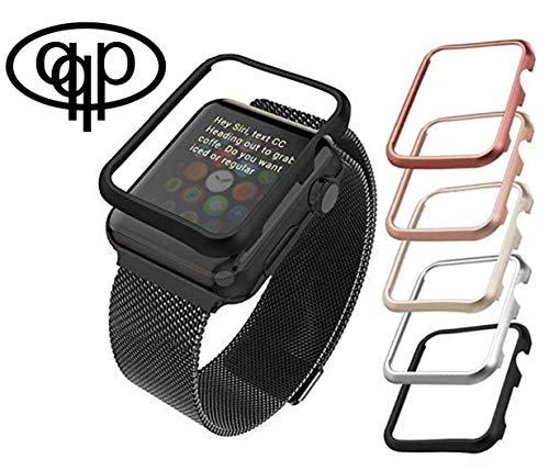 qualiquipment Aluminium Hülle kompatibel mit Apple Watch, qualiquipment iWatch Zubehör Case Bumper Cover Schutzhülle in den Größen 42mm/38mm für Series1, Series2, Series3 (38mm Schwarz)