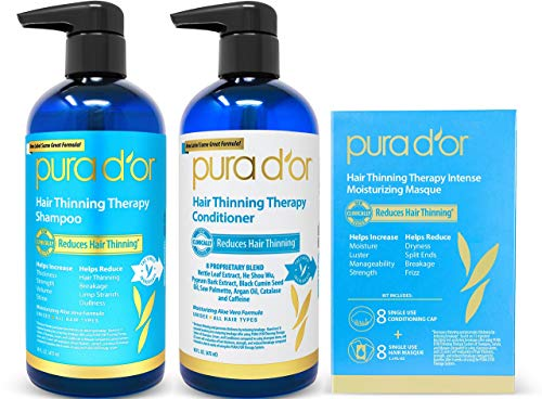 PURA D'OR Hair Thinning Therapy 3-piece Set, Shampoo, Conditioner & Masque for Best Results, Infused...