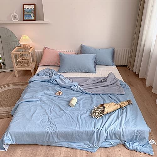 FENGCHENG Edredón De Verano Simple Color Sólido Fresco Y Cómodo Edredón Fino Edredón Suave Transpirable Y Lavable Azul 150*200cm