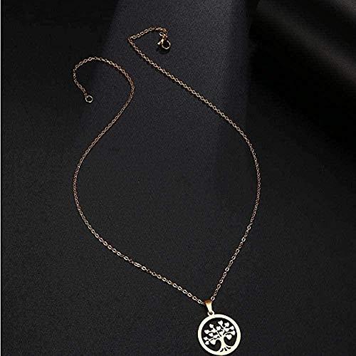 niuziyanfa Co.,ltd Collar de Acero Inoxidable Collar Mujer Hombre corazón árbol Colgante Collar joyería de Compromiso