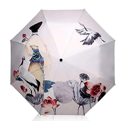 xinrongqu Regenschirm Benutzerdefinierte Uv Regen Und Regen Dual-Use Kreative Sonnenschirm Falten Sonnencreme Cartoon Vinyl Sonnenschirm Weiblich