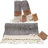 Smyrna Original Turkish Hand Towels Herringbone Series Set of 2 | 100% Cotton, 16 x 40 Inches | Decorative Bathroom Peshtemal Towel for Hand, Face, Hair, Gym, Yoga, Tea, Kitchen and Bath (Gray)