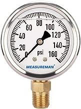 MEASUREMAN Lead-Free Glycerin Filled Pressure Gauge, 0-160psi, RV Regulator Replacement Pressure Gauge, 2