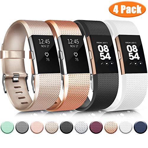 Wanme Kompatibel mit Fitbit Charge 2 Armband, Verstellbare Weiches Silikon Sport Ersatzarmband Kompatibel für Fitbit Charge 2 (01 Gold Rose/Gold/Black/White, Large)