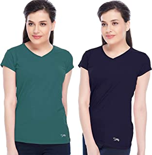 Lovable Women Girls Micro Fabric Pack of 2 T-Shirts in Blue & Green Color- V-Neck TEE - NY/SG