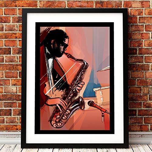 GUDOJK wandschilderij saxofoon speler afdrukken muziek poster kamer muurkunst wooncultuur handgeschilderd canvas schilderij afbeelding muzikant cadeau idee 60x80cm(24x32inch)