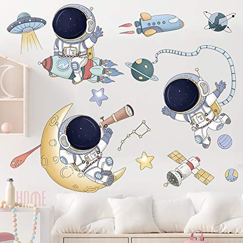 iTemer 1 Uds Pegatinas De Pared Astronauta Nave Espacial Platillo Volador Pintura Adhesivos Pared JardíN De Infantes DiseñO Pegatinas Pegatinas DecoracióN Nave espacial astronauta 30*90CM
