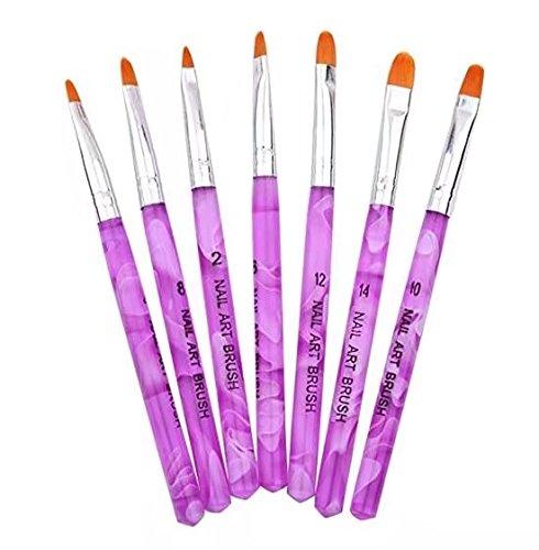 7pcs Pinceaux Brosse UV Gel Peinture Dessin Ongle Liner Plat Deco Manucure Nail Art