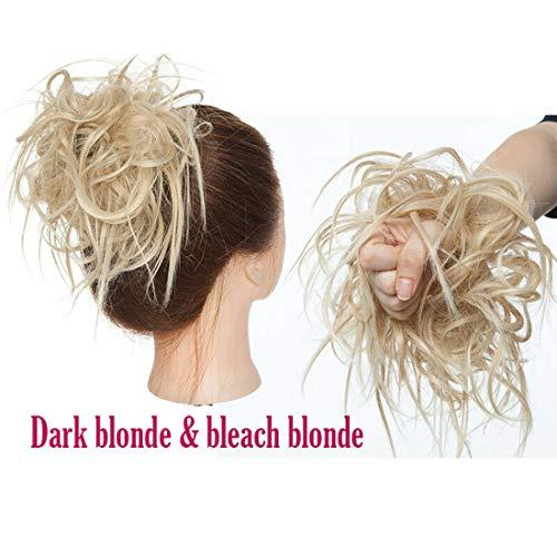 XXL Postiche Cheveux En Caoutchouc Chouchou Chignons VOLUMINEUX Bouclés Ou Chignon Décoiffé Extension a clip Cheveux Naturel Blonde foncée à blonde décolorante
