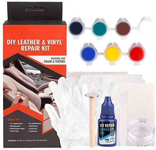 Moonvvin Kit de reparación de Vinilo de Piel líquida para retoques de Coches y sofás con Kit de restauración, para Restaurar el sofá, el Asiento del Coche, tu Chaqueta, cinturón, Zapatos