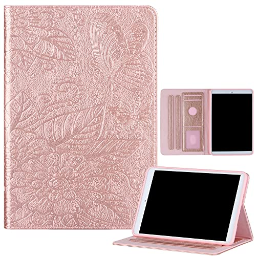 Funda compatible con iPad Mini 6 2021 (8.3 pulgadas), suave TPU interior en relieve flor de mariposa cubierta de cuero delgada elegante cubierta folio caso para iPad Mini 6, auto Wake/Sleep-Rose Gold
