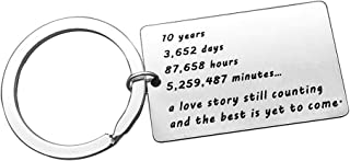 10th Wedding Anniversary Couples Keychain 10 Years Anniversary Key Chain Gift for Him or Her 10th Wedding Gift for Husband Wife