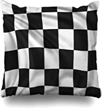 Ahawoso Throw Pillow Cover Square 20x20 Checkered Waving Black Full Wind Symbol Banner Signs Dimensional Symbols Silk Objects Cushion Pillow Case Decorative Home Decor Zippered Pillowcase