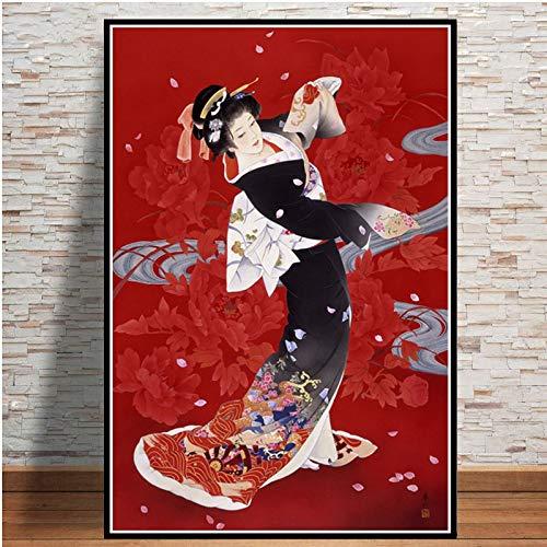 YuanMinglu Geisha Japonesa Mujer Arte póster impresión Pintura al óleo Lienzo Pared Arte Imagen para Sala Pintura sin Marco 30x40 cm