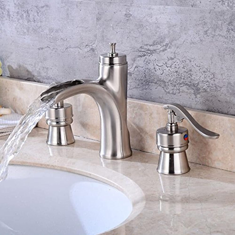 AQMMi Bathroom Sink Faucet Basin Mixer Tap Waterfall 3 Holes Copper Brushed Basin Sink Tap Bathroom Bar Faucet