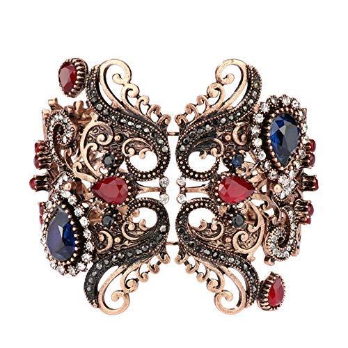 CEXTT Pulseras y brazaletes Azules Únicos Antique Joyería de Oro de la Vendimia del Mosaico del Mosaico del Mosaico del Mosaico Pulsera de la Fiesta para Las Mujeres Regalo de Fiesta