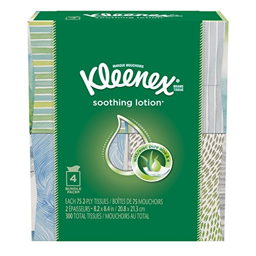 Kleenex Lotion Facial Tissue (4 Boxes/75 Sheets Per Box) ( Designs & colors will vary )